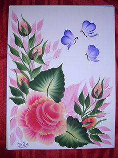 ONE STROKE VICTORIAN ROSES ACRYLIC ON CANVAS PAINTING
