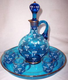 Lot 325 MOSER DECANTER SET IN BLUE | McLaren Auction Services