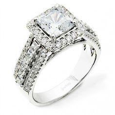Simon G. Princess Cut Diamond Engagement Ring