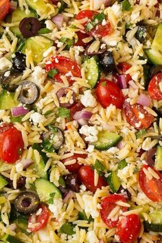 Greek Orzo Salad - Cooking Classy - Another! Vegetarian Recipes, Cooking Recipes, Healthy Recipes, Vegetarian Pizza, Amish Recipes, Dutch Recipes, Healthy Dishes, Healthy Meals, Easy Meals