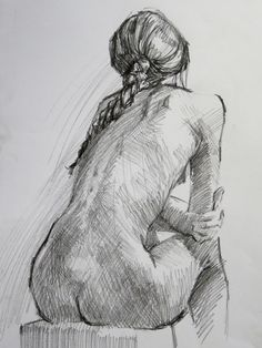 Naked back sketch of a girl Female Drawing, Body Drawing, Life Drawing, Drawing Sketches, Female Art, Painting & Drawing, Art Drawings, Figure Sketching, Figure Drawing