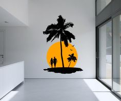Decal A: Paradise Scene (Palm Tree, Island and Couple)Color B: SunDifferent sizes are available. Email us and we will give you a fair price.Some wall decals may come in multiple pieces due to the size of the design. Creative Wall Painting, Wall Painting Decor, Mural Wall Art, Wall Decal Sticker, Vinyl Wall Decals, Wall Decor, Bedroom Wall Designs, Wall Drawing, Paint Designs
