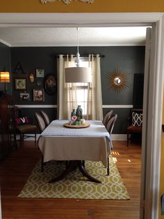 Dining room redo pic, pillow to the right- west elm. Paint color- sable evening valspar