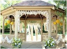 Image result for how to decorate a gazebo with linens for a wedding