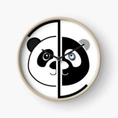 Panda Head, Quartz Clock Mechanism, Color Change, Art Prints, Printed, Awesome, Metal, Artist, Artwork