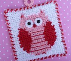 Owl Potholder Crochet PATTERN by bearsy43 on Etsy