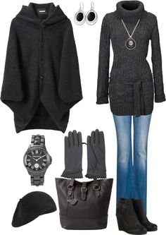 """Charcoal Grey in Winter"" by angela-windsor on Polyvore"