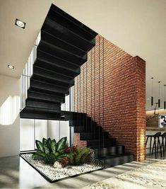 110 unique modern staircase design ideas for your dream house 20 Home Stairs Design, Interior Stairs, Modern House Design, Interior Architecture, Brick Architecture, Modern House Facades, Railing Design, Interior Design, Modern Stairs