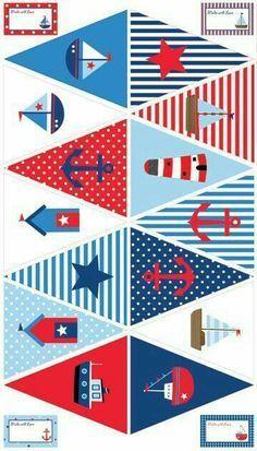Ideas for baby shower decoracion marinero birthday party ideas Nautical Bunting, Nautical Party, Bunting Flags, Buntings, Sailor Party, Sailor Theme, Sailor Birthday, Baby Shower Marinero, Baby Boy Shower