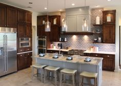 High-end custom kitchen photos from around the U. with kitchen cabinet doors by TaylorCraft Cabinet Door Company, a wholesale cabinet door supplier Stained Kitchen Cabinets, Kitchen Cabinet Doors, Painting Kitchen Cabinets, Kitchen Paint, Kitchen And Bath, Kitchen Decor, Kitchen Ideas, Kitchen Designs, Walnut Cabinets