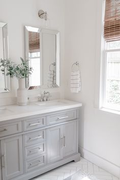 Beautiful master bathroom decor some ideas. Modern Farmhouse, Rustic Modern, Classic, light and airy master bathroom design suggestions. Bathroom makeover ideas and master bathroom remodel tips. Grey Bathroom Cabinets, Grey Bathroom Vanity, Gray Vanity, Bathroom Renos, Bathroom Layout, Bathroom Interior Design, Bathroom Flooring, Bathroom Renovations, Master Bathrooms