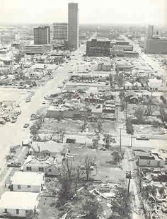 LUBBOCK, Texas, May 11, 1970, F5. One of the strongest tornadoes in Texas history hit the heart of this medium-sized Panhandle city after dusk; thus there are no known photos of it. It is a key event in tornado science thanks to Dr. Ted Fujita's studies of the multi-vortex damage, which led to creation of the Fujita scale for rating tornado intensity. The city's Great Plains building was said to be the tallest to withstand an F5, however that contention is now disputed. (KevinR@Ky)