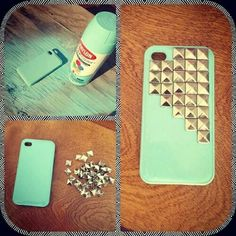 Spray paint an old/cheap phone case & hot glue studs on and voila! Photo by: Viviana Lara too bad my iPhone broke :/ Cheap Phone Cases, Cute Phone Cases, Hot Glue Phone Case, Cool Diy, Easy Diy, Diy Sharpie, Iphone 4, Iphone Cases, Handy Case