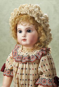 Gorgeous French Bisque Bebe E.J. by Jumeau,Size 13,in Fine Antique Costume