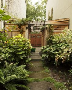 Kim Hoyt Architect Boerum Hill Brooklyn Garden with Trellis and Garden Sheds and Stone Path, Gardenista