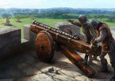 """A culverin was a relatively simple ancestor of the musket and later a medieval cannon adapted for use by the French as """"couleuvrine"""" (from couleuvre """"grass snake"""") in the century Fantasy City, Fantasy Male, Fantasy Rpg, Medieval Fantasy, Fantasy Artwork, Dark Fantasy, Military Art, Military History, Arte Robot"""