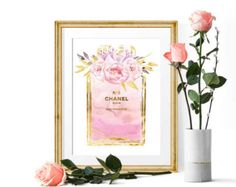 Chanel Print Chanel Perfume Poster Watercolor Coco by DROPINDROP