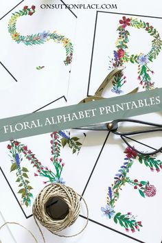 A to Z Floral Alphabet Printables | Includes one set of letters suitable for framing and crafts. A second blocked set is also included for easy banner-making. Use for bridal or baby showers, rehearsal dinners, birthday parties and more!