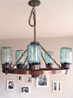 36 Wagon Wheel Chandelier Mason Jar Style Rustic Chandeliers Liked On Polyvore Featuring Home Lighting Ceiling Lights L