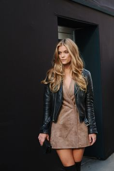 suede dress, black leather jacket, biker jacket, fashion, style, outfit, ootd, over knees, over knee boots, long blond hair, hairstyle, waves