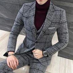 3 Piece Men's Plaid Suits Coat Pants Vest Slim Fit Men's Suits-Men's Suits-Online-Grey-M-Online Shopping-LeStyleParfait.Com