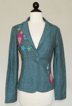 RUBBER DUCKY Teal Brown Herringbone Tweed Embroidered Floral Jacket - Size S #RubberDucky #BasicJacket #Business