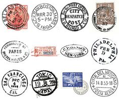 Digital Image - Vintage Illustrations - Postage Mark Business Cancellation Stamps World Cities. $4.00, via Etsy.