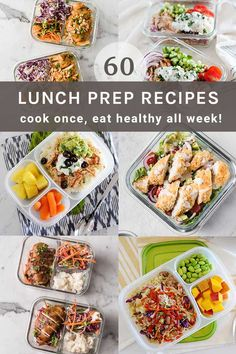 60+ healthy meal prep lunch and dinner ideas you can cook once and enjoy throughout the week! Lunch Meal Prep, Meal Prep Bowls, Healthy Meal Prep, Healthy Lunches, Eat Healthy, Lunch Recipes, Real Food Recipes, Soup Recipes, Healthy Recipes