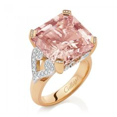 Callejia Cinderella ct square emerald cut Morganite in white & rose gold ring with white diamonds Pink Jewelry, Girls Jewelry, Jewelery, Unique Jewelry, Diamond Are A Girls Best Friend, Queen, Wedding Jewelry, White Diamonds, Emerald Cut