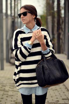 nautical stripe sweater   chambray  shirt = classic street chic