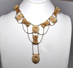 antique Chinese necklace, carved bone, gold, silver filligree