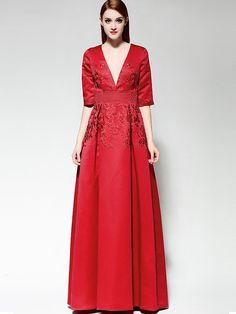 Red V Neck Half Sleeve Embroidered Beading Dress