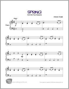 Spring (Vivaldi) | Sheet Music for Piano (Digital Print) - http://makingmusicfun.net/htm/f_printit_free_printable_sheet_music/spring-piano.htm