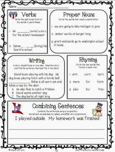 Language arts daily review for second grade--FREE sample pages--click on preview