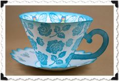 Template for paper teacup