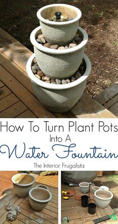 How To Turn Plant Pots Into A Water Fountain - Ever wish you had a water feature in your yard? Here is how you can turn a trio of plant pots into a water fountain for a small deck, patio, or balcony. Diy Water Fountain, Diy Garden Fountains, Fountain Ideas, Fountain Garden, Outdoor Fountains, Wall Fountains, Garden Ponds, Koi Ponds, Homemade Water Fountains