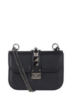 VALENTINO GARAVANI small Lock Noir bag Valentino Garavani, Calf Leather, Calves, Shoulder Bag, Bags, Shopping, Women, Handbags, Baby Cows