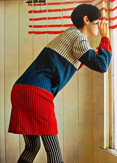 "thecarnabetianarmy: ""Wool Knitwear by Rudi Gernreich, modeled by Peggy Moffitt (Lee Sutton) "" 60s And 70s Fashion, Mod Fashion, Fashion Models, Vintage Fashion, Womens Fashion, Fashion Trends, Vintage Style, Fashion Design, Peggy Moffitt"