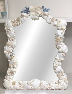 Beach Decor - Seashell Mirror - *Shipping Fee assessed after purchase* coastal/nautical/sea shell/seashells/sea shells/beach house Seashell Art, Seashell Crafts, Seashell Frame, Seashell Bathroom, Seashell Projects, Seashell Wreath, Mermaid Bathroom, Sea Crafts, Types Of Shells