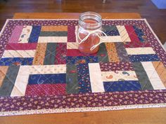 Country Colors Quilted Table Runner/ Scrap Quilt Rail Pattern by RubysQuiltShop on Etsy