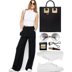 Wear a cropped high neck top with tailored wide leg pants, sneakers and a tote bag for a casual and chic minimalist look.