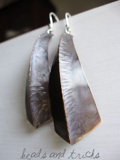 Copper and sterling silver earrings. Foldformed. Handmade by Beads and Tricks