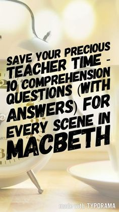 Ebook containing 10 comprehension questions (with answers) for every scene in Macbeth. Great for a quick knowledge check, homework or as discussion prompts. || Ideas, activities and revision resources for teaching GCSE English || For more ideas please visit my website: www.gcse-english.com ||