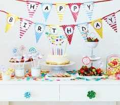 HaPpY bIrThDaY Celebrate in style with Bobee's colorful happy birthday party decoration Party Supplies that color coordinate with your paper plates, invitations, napkins, favors, and candle. Match any birthday theme ~ whether you're celebrating a 1st birthday, 50th or 100th a boy or girl birthday, you can't go wrong with this colorful birthday decor. Add streamers, balloons, or Bobee's matching paper lanterns and your set to WOW your guests. Happy Birthday banner measures approx 4 feet wide…