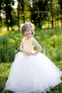 Flower Girl Dress, Yellow flower girl dress, flower girl dresses. $195.00, via Etsy.