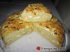 Great recipe for Cheese bread, super easy and tasty. A delicious and fulfilling cheesebread that constitutes an ideal solution for a fast dinner. Recipe by kokinomala Yeast Free Breads, Yeast Bread Recipes, Good Food, Yummy Food, Tasty, Sweets Recipes, Cooking Recipes, Greek Bread, Cypriot Food