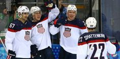 Image:  Paul Stastny (#26) of United States celebrates with team-mates after scoring a goal against Slovakia in the second period their game...