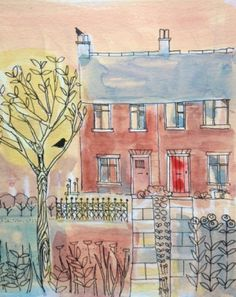 Original Watercolour/acrylic Pen Painting 'Canalside Cottages' Signed