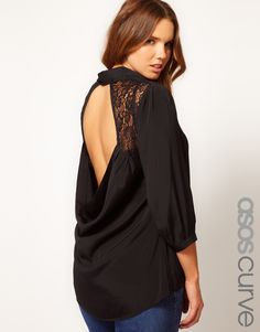 ASOS Curve | ASOS CURVE Exclusive Blouse With Lace Insert & Cowl Back at ASOS