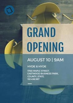 A creative template for a grand opening poster. A background image of table a chairs and a text box displaying grand opening august 10 at 9 am. Open Table, August 10, Grand Opening, Table And Chairs, Background Images, Photoshop, Templates, Box, Creative